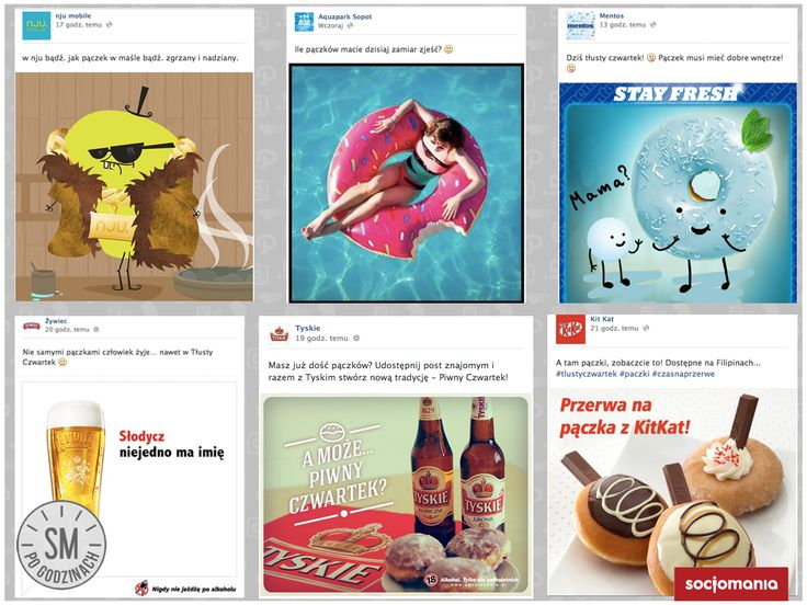 Pączkowe posty marek. Na tłusto! :) ver.2 #Facebook #SocialMediaPoGodzinach
