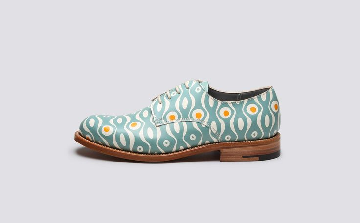 Evie | Persephone x Grenson | Womens Derby in Teal Persephone Print Calf Leather with a Leather Sole | Grenson Shoes