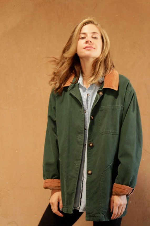 90s vintage Forest GREEN OXFORD corduroy contrast collar Pacific NORTHWEST style jacket coat