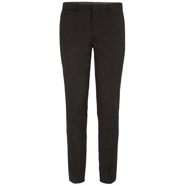 TOPMAN Black Ultra Skinny Fit Suit Trousers (£35) ❤ liked on Polyvore featuring men's fashion, men's clothing, men's pants, men's dress pants, black, mens super skinny dress pants, mens skinny dress pants, mens skinny suit pants, mens skinny pants and mens zipper pants