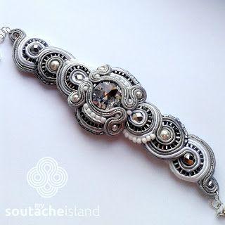 Silver soutache bracelet