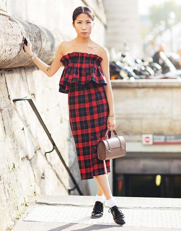 Plaid ruffled midi dress + menswear-inspired shoes