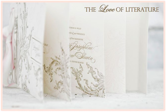 Love this custom invite - inspired by the love of literature.