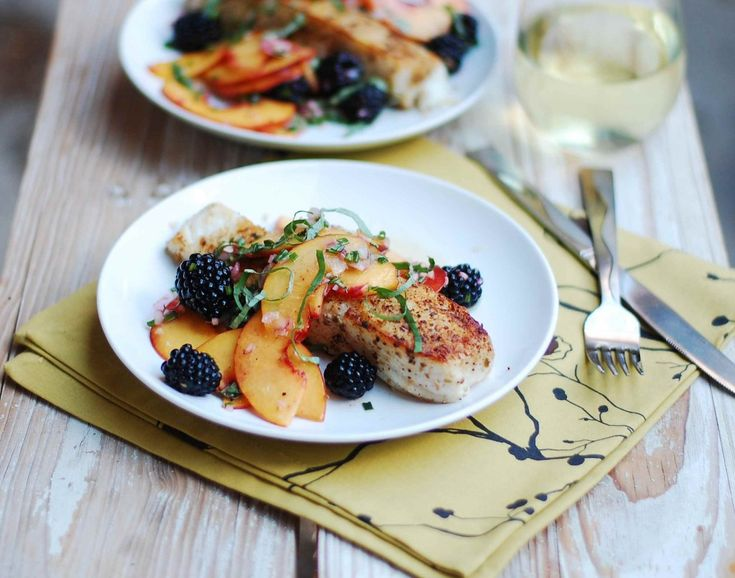 Pan-Seared Halibut with Peaches and Basil