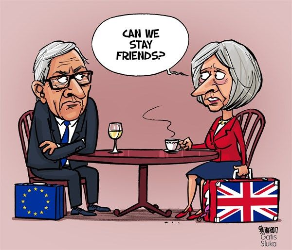 Gatis Sluka - Latvijas Avize, Latvia - Brexit Divorce - English - Brexit, divorce, Theresa May, Jean-Claude Juncker, EU, European Union, Great Britain, UK, Europe, England