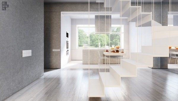 The stair case uses suspension wires, letting the home stay open and giving anyone ascending a heavenly feeling.