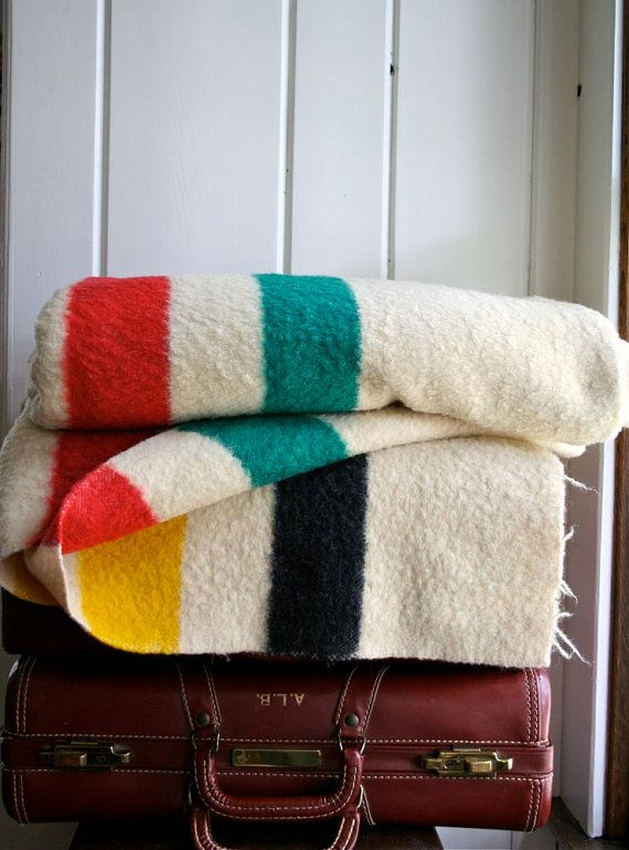 vintage hudson bay 4 point wool blanket by blueflowervintage on etsy