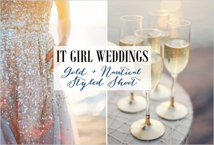 A gold and nautical wedding shoot, gold sequin dress and a table of champagne flutes http://www.itgirlweddings.com/blog/gold-nautical-styled-shoot