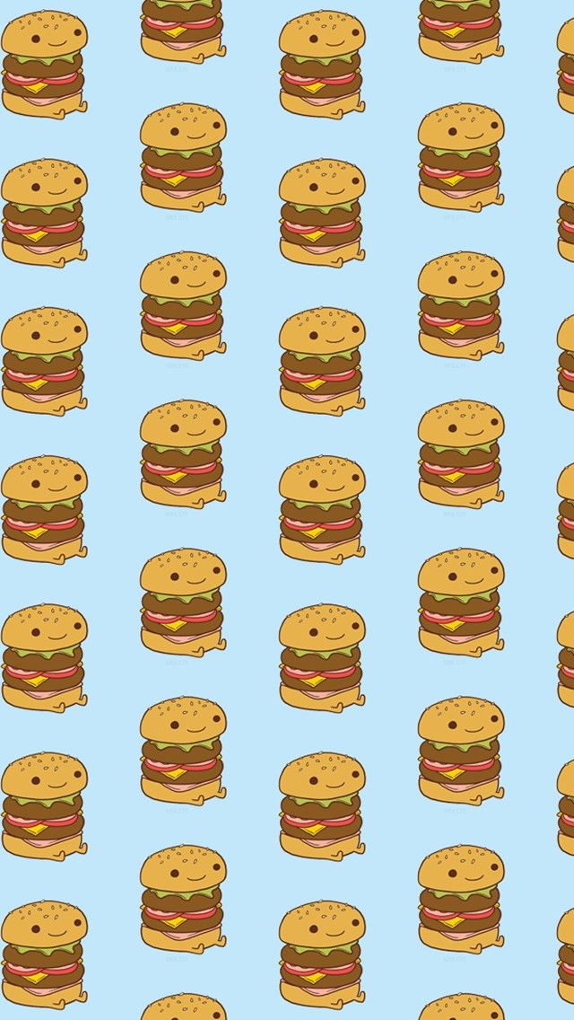 Cheeseburger  - Tap to see more cute food cartoon wallpapers! | @mobile9