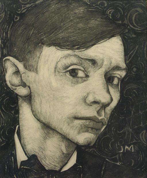 Jan Mankes (Dutch, 1889-1920), Self-portrait, c.1915. Pencil and charcoal on paper, 21 x 17.5cm