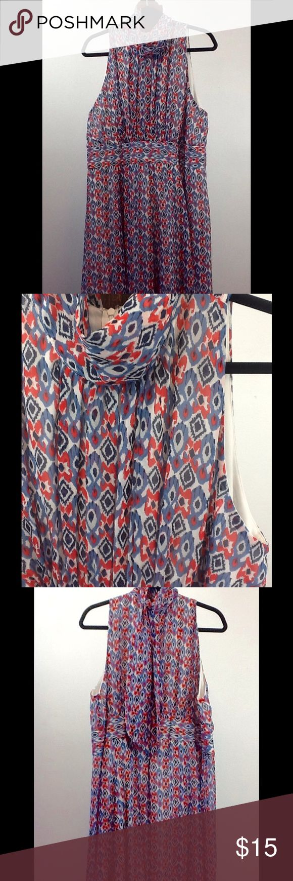 VOIR VOIR Plus Size 18 Fit & Flare Halter Dress Red, white, and blue dress. Perfect for Memorial Day weekend or July 4th! Fit and flare style.  Halter with sheer neck and long ties behind neck. Pleated bodice. Zip back. Two layers of material.  Top layer is chiffon type material with opaque white lining.  Plus Size 18. Dresses