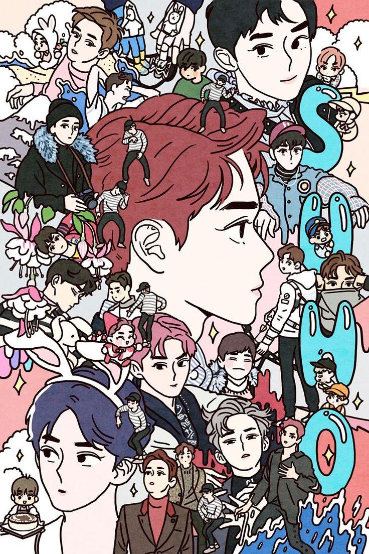 Fan art of Kim Jun-myeon (김준면) also known mononymously as Suho (수호) of EXO (엑소). || Credit goes to langmanpanda.