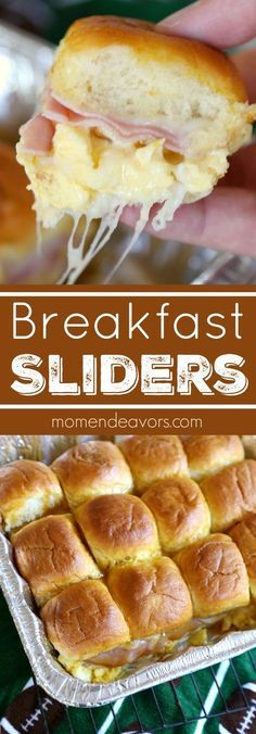 Ham, Egg, Cheese Breakfast Sliders - perfect for gameday breakfast tailgates!