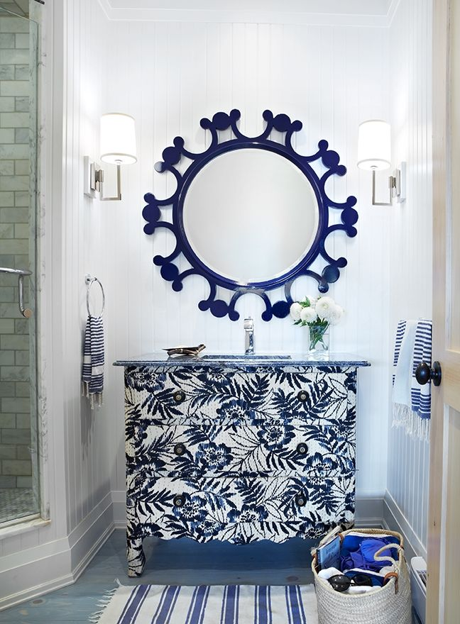 391 best navy blue images on pinterest bedroom home Navy blue and white bathroom