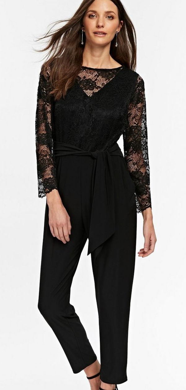 f38f9faa3bf Black Crepe Belted Jumpsuit with Lace for Autumn. Autumn Fashion. What to  wear to