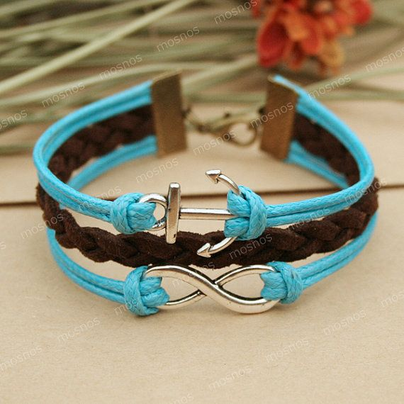 Infinity bracelet- blue anchor bracelet with infinity