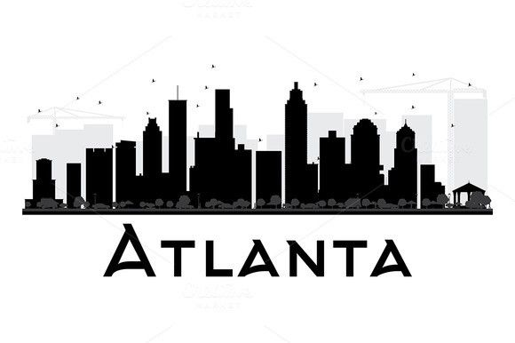 Atlanta City Skyline Silhouette