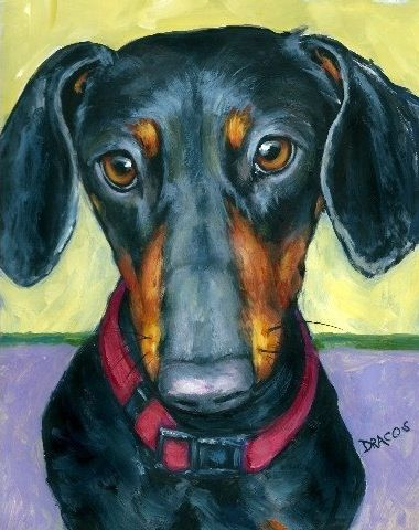 Dachshund Dog Art 8x10 Print of Original Painting by DottieDracos