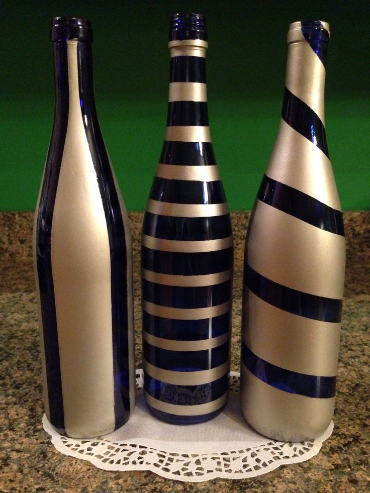 Cobalt blue with satin paint | hand painted wine bottles