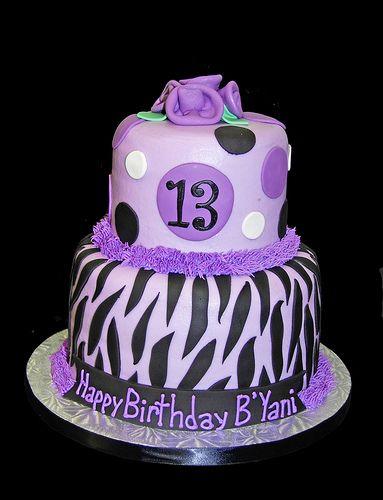 purplr cheetah cake decorations | ... cakes, cupcakes & chocolates: Purple Zebra Print 13th Birthday Cake