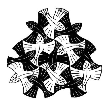 7 Black and 6 White Fishes - M.C. Escher