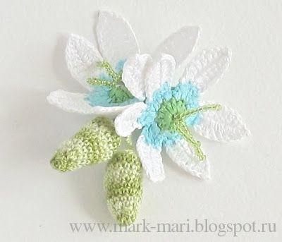 Crochet flower chart&tutorial