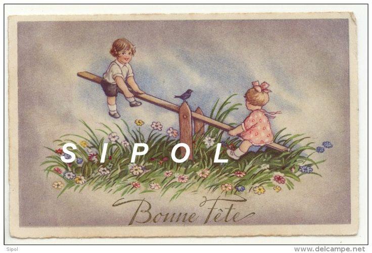 bonne f te jeux d enfants enfants sur une balancoire avec oiseau et fleurs tape cul. Black Bedroom Furniture Sets. Home Design Ideas