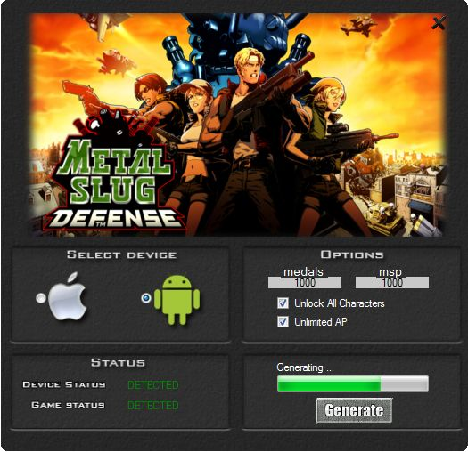 This hack works 100% to the game Metal Slug Defense. If you download this tool you can be generate a lot of medals and msp. Our group guarantee a hack it working very well. Tool is easy to use and does not need a installation.  http://wazzupgames.com/metal-slug-defense-hack/