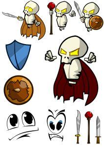 Some #game #art, #skeleton, #shield and #swords