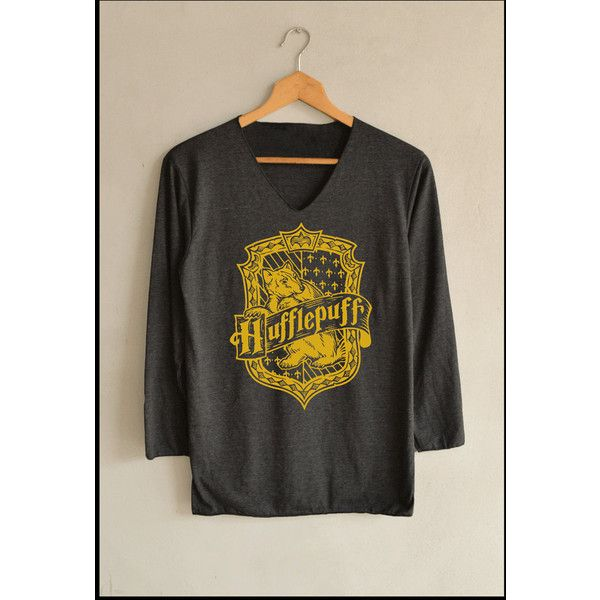 House Yellow Hufflepuff Shirt Harry Potter Shirts Long Sleeve Unisex... ($13) ❤ liked on Polyvore featuring tops, yellow top, extra long sleeve shirts, long sleeve shirts, yellow long sleeve shirt and long sleeve tops