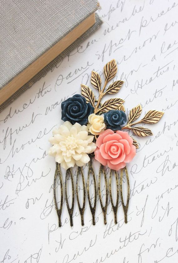 Flower Hair Comb Coral Pink Navy Blue Rose Comb Ivory Cream Chrysanthemum Wedding Hair Accessories Bridesmaids Gifts Made of Honor Hair Comb... Wedding inspiration and ideas here: www.weddingideastips.com
