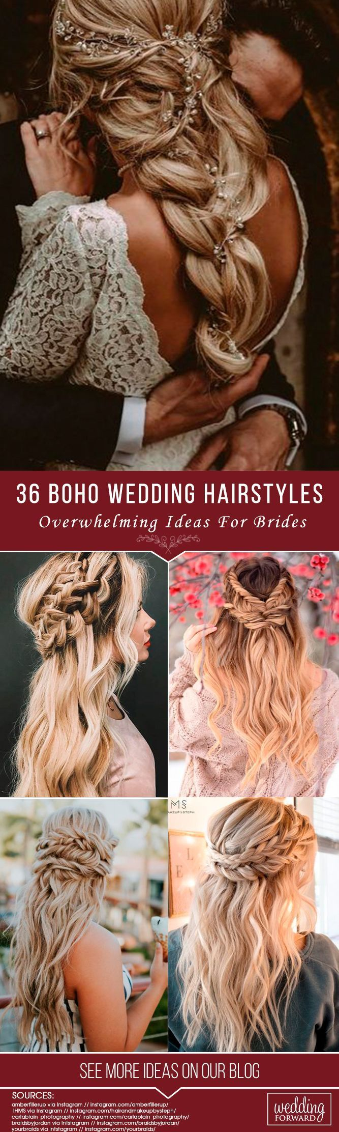 36 Overwhelming Boho Wedding Hairstyles ❤️ Here you will find a plethora of boho wedding hairstyles for any tastes, starting with elegant braided updos and ending with some creative solutions. See more: http://www.weddingforward.com/boho-wedding-hairstyles/ #weddinghairstyles