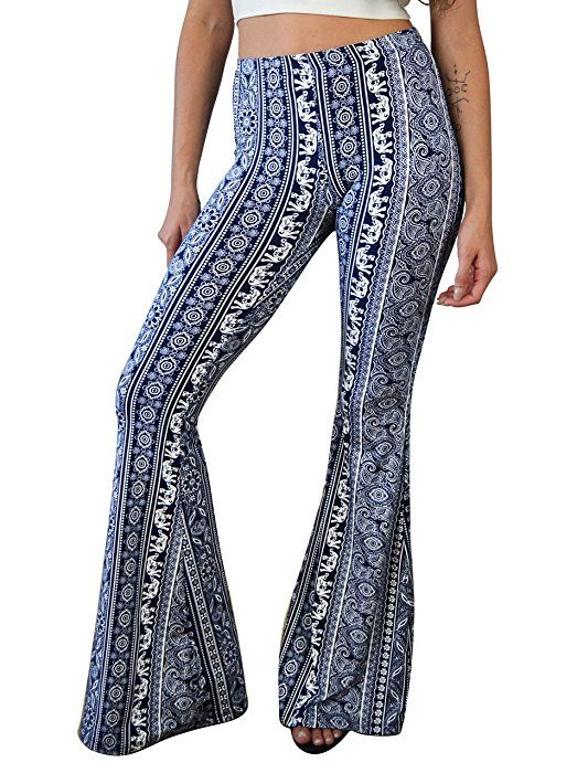 c48909422bbb40 Daisy Del Sol High Waist Gypsy Comfy Yoga Ethnic Tribal Stretch 70s Bell  Bottom Flare Pants (Small, Blue/White) at Amazon Women's Clothing store:
