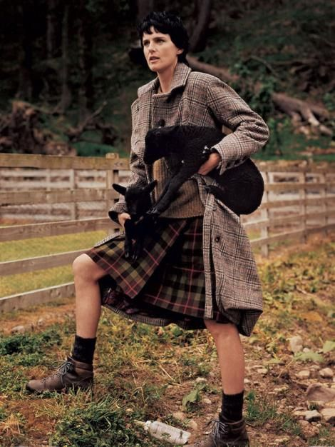 Stella Tennant in a kilt by Bruce Weber for Vogue Italia