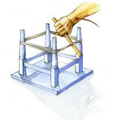 Learn how to repair wobbly tables, chairs, and stools easily with a tourniquet clamp. | Illustration by: Narda Lebo | thisoldhouse.com