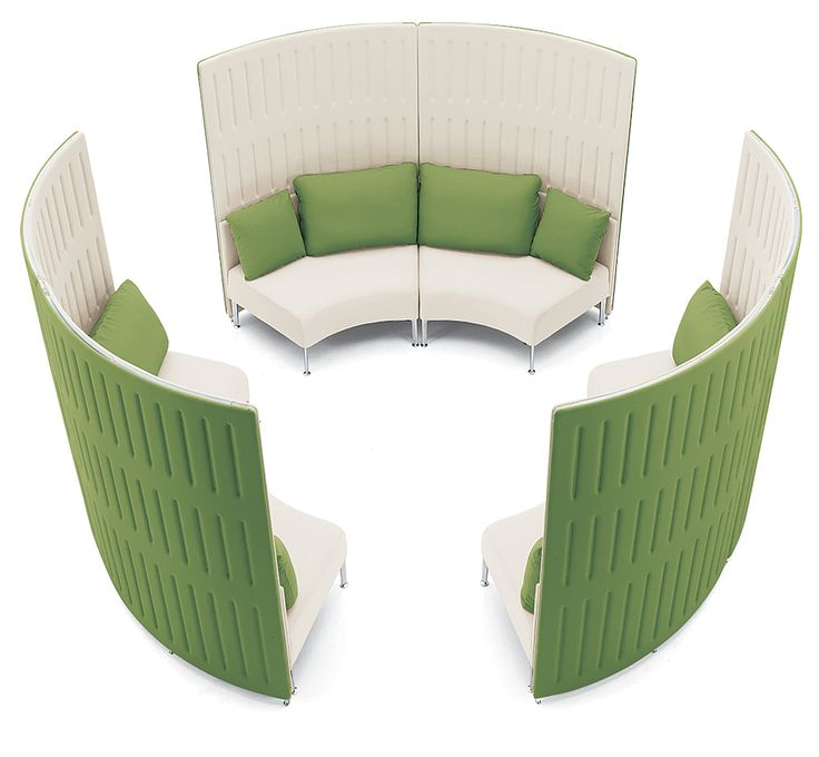 Muffle acoustical panels in steel and polyester in Grape and Vanilla by Okamura Corporation.