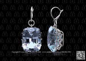 Important large unheated aquamarine earrings by Leon Mege.