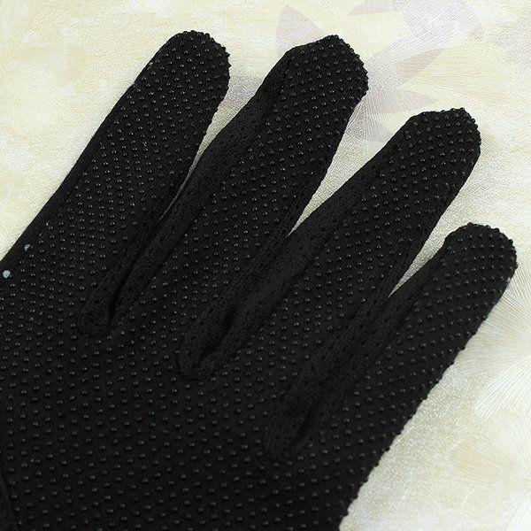 Women Dot Print Design Short Gloves Driving Sunscreen Gloves