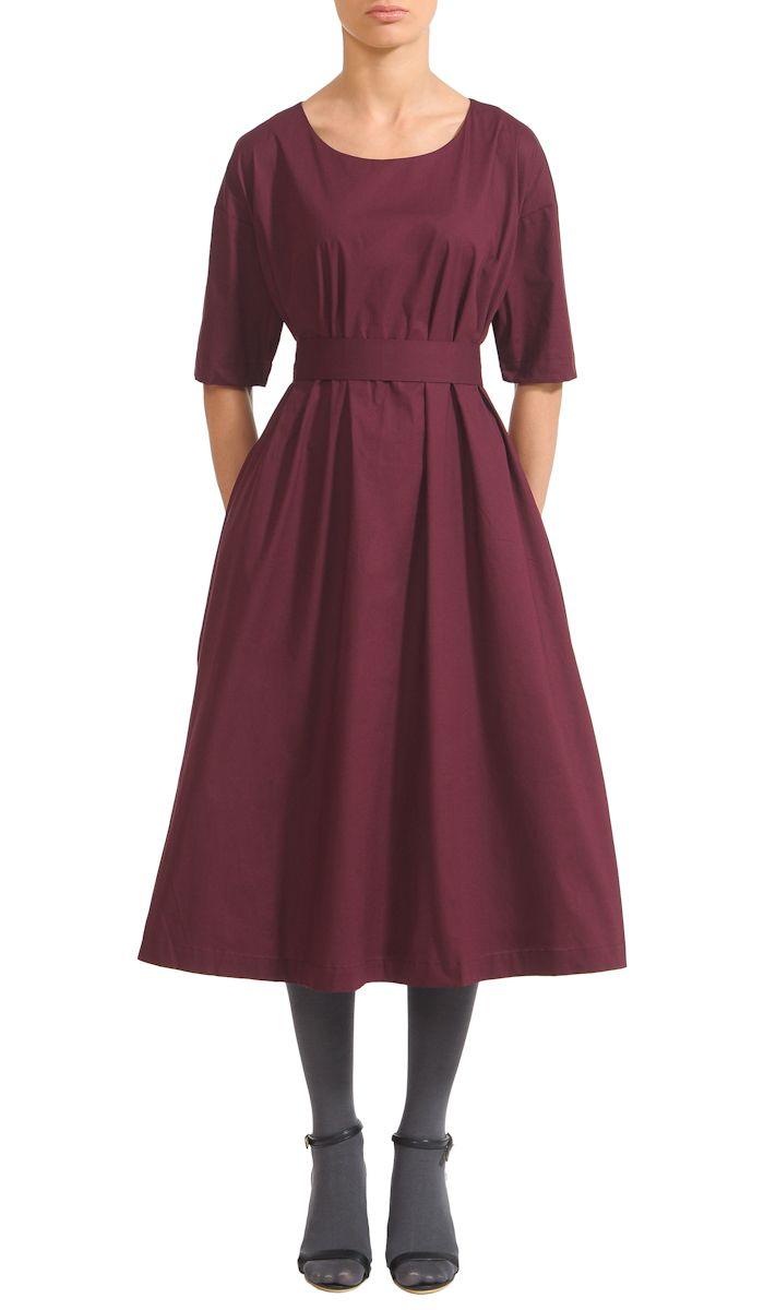 Бордовое платье миди