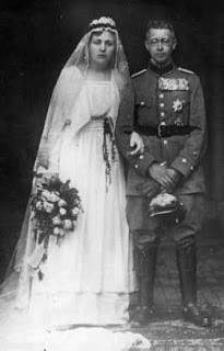 Prince Waldemar of Prussia and his new bride, Princess Calixta of Lippe-Bierstenfeld.  They had no children.  During WWII the couple lived in Bavaria and in 1945 fled from the approaching Red Army.  Waldemar was in the throes of a hemophilia attack and received treatment when the couple reached Tutzing, south of Munich, on 1 May.  However, American forces overran the town and diverted all medical resources to concentration camp survivors.  Waldermar died on 2 May from blood loss.
