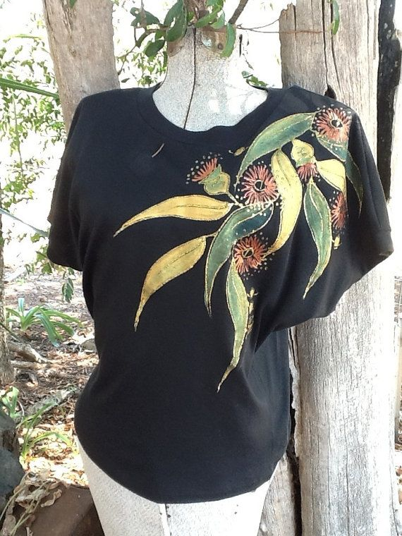 Vintage T shirt. Hand painted metallic floral and leaf embellishment on a black batwing top. size Small medium. S. M.