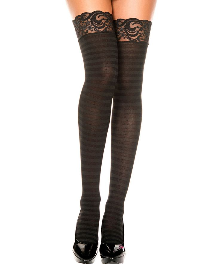 Black Stripe Lace Opaque Thigh-High Stockings