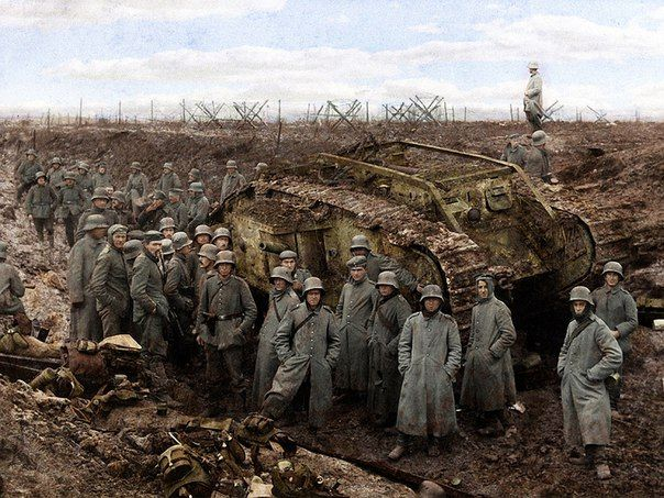 The Germans captured British tank. Western front, First world war.