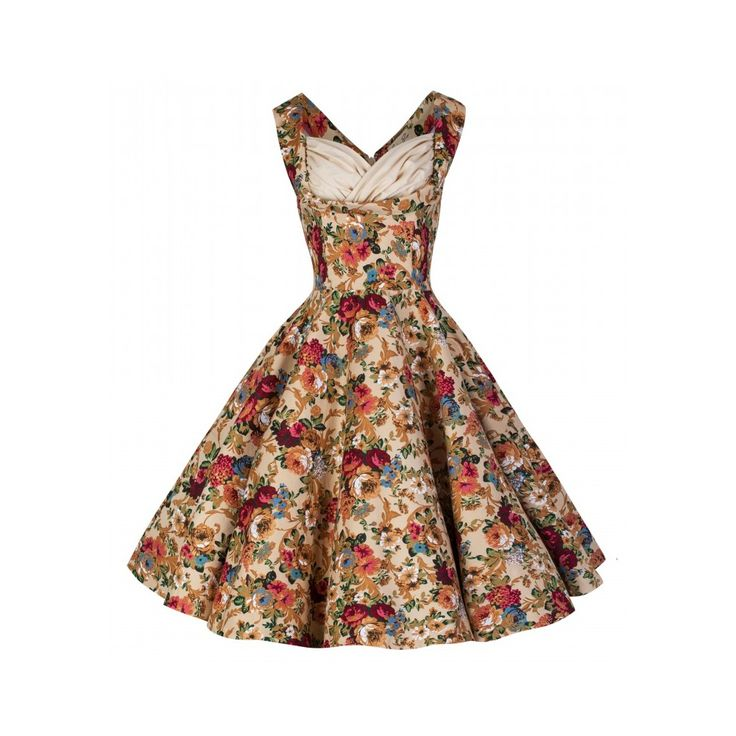 Vintage Floral Dresses | Ophelia' Vintage 1950's Floral Beige Spring Garden Party Picnic Dress