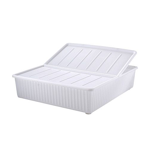 Under the bed storage containers. If your bed does not already have storage, you should get one of these! It makes it easier to separate your fall and spring clothes. Just $14 from Ikea! Also a shoe rack is a great idea, especially for the winter months.