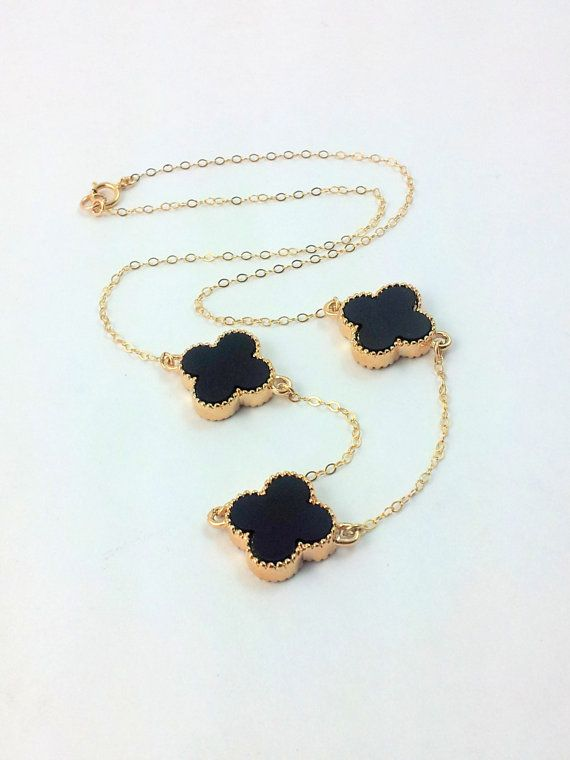 Clover Necklace Black  Pendant 14kt by divinitycollection on Etsy