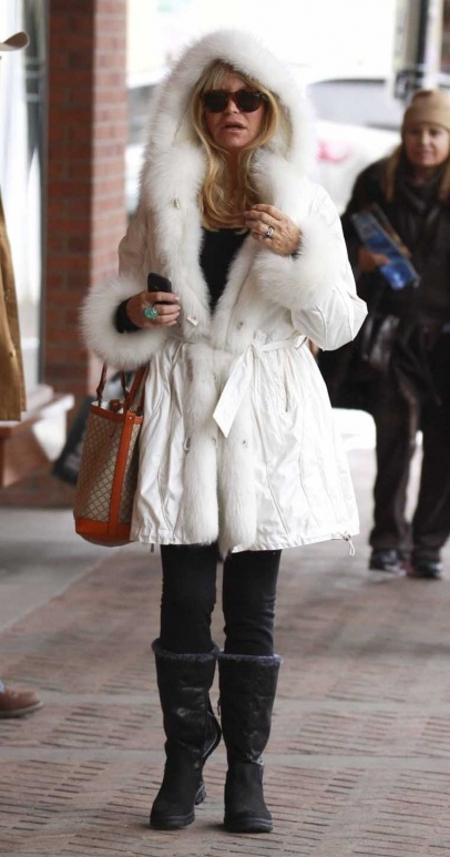 Snow bunny Goldie Hawn was looking every inch the glamorous Hollywood star in a festive fur coat while out in Aspen, Colorado with longtime partner Kurt Russell. The pair have holidayed in the winter playground for over two decades.