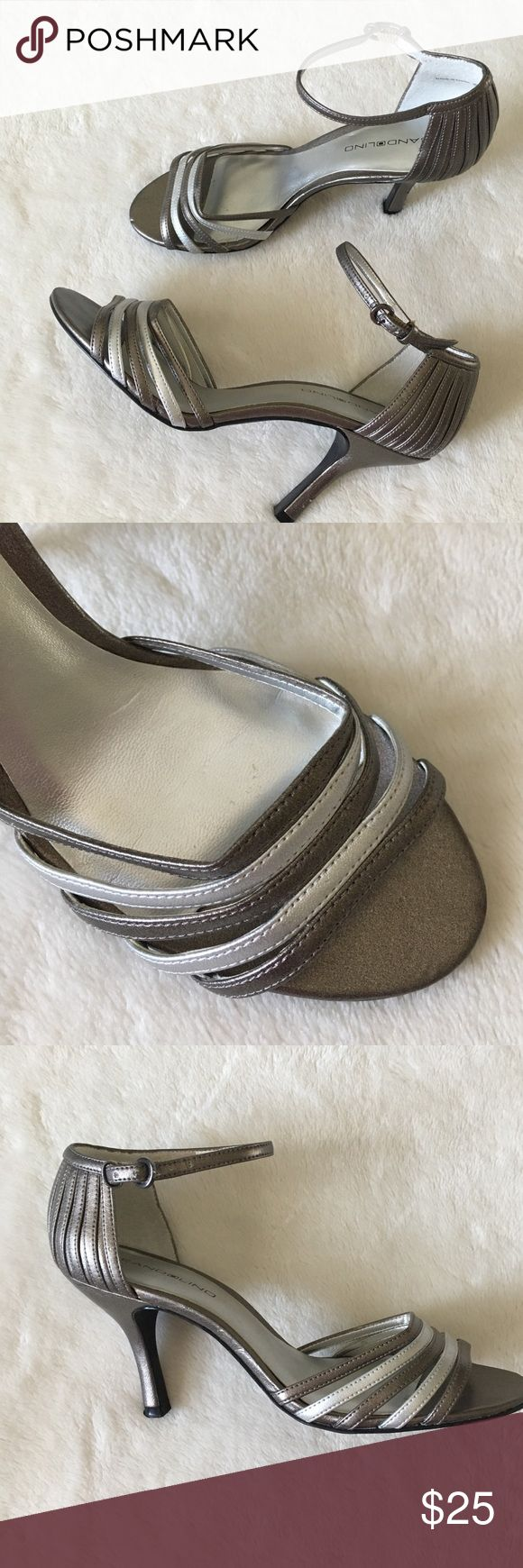 Silver/ Pewter Shoes 👠 Some scuffing on one heel. See las pic.  Worn once Bandolino Shoes Heels