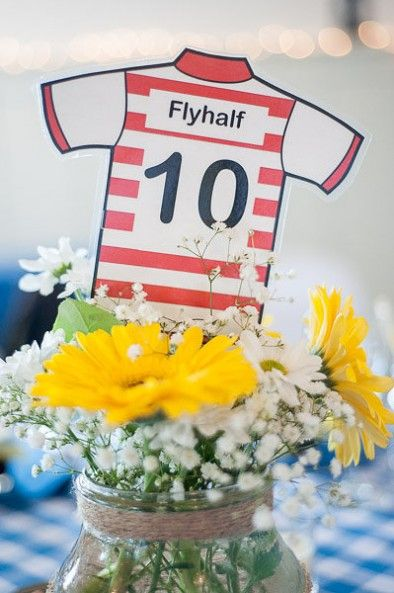 Rugby jersey themed table names - photo by Jelger & Tanja Photography