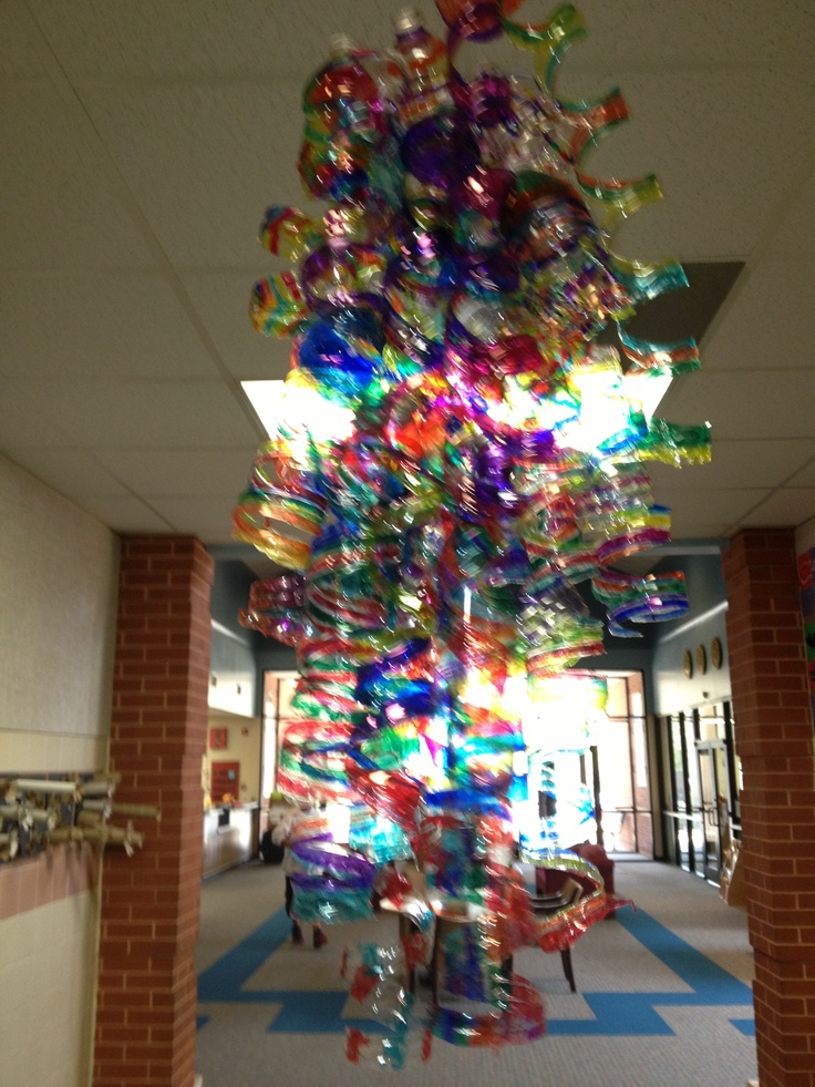 Dale chihuly inspired recycled water bottle chandelier for How to make a bottle chandelier